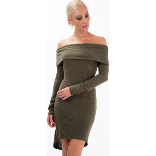 31a74aa87e Sukienka z dzianiny i odkrytymi ramionami khaki 1542 fasardi XL fasardi.com  ...