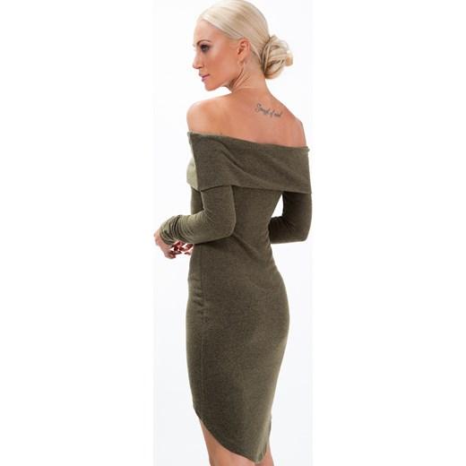 5435f8865a ... Sukienka z dzianiny i odkrytymi ramionami khaki 1542 fasardi M fasardi.com  ...
