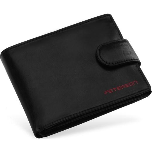 ab0523de24f19 Poziomy portfel męski peterson skórzana portmonetka z zapinką – czarny  szary Peterson world-style.