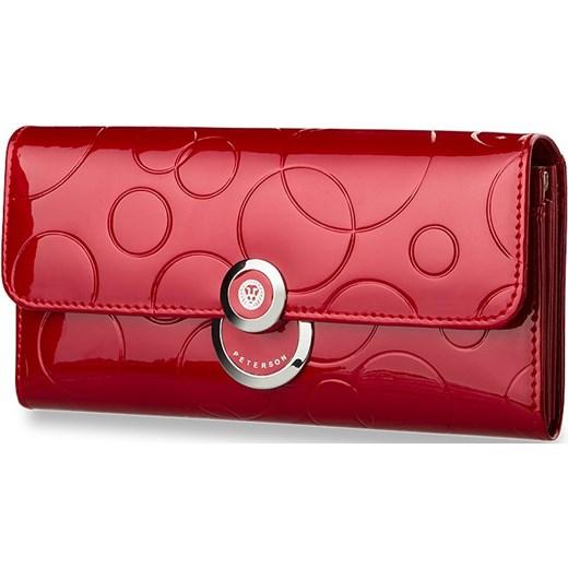 5f0f8f8df47e2 ... ORYGINALNY DAMSKI PORTFEL SKÓRA LAKIEROWANA PETERSON - CZARNY world- style-pl czerwony naturalne ...