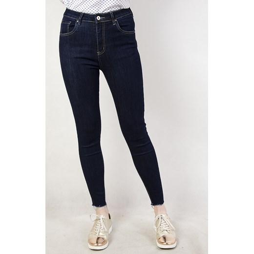 Ciemne spodnie jeansowe bez przetarć z wysokim stanem olika