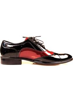 Czarno-bordowe buty wizytowe T27  Obuwie Męskie Faber Modini okazyjna cena  - kod rabatowy