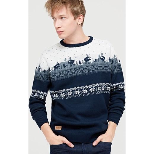 bfe0e8d8e48a43 Cropp - Sweter z motywem świątecznym Granatowy bezowy w Domodi