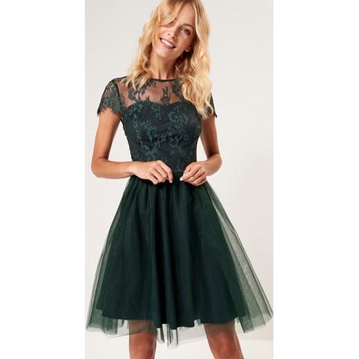 000715a7 Mohito - Koronkowa sukienka z rozkloszowanym dołem Khaki