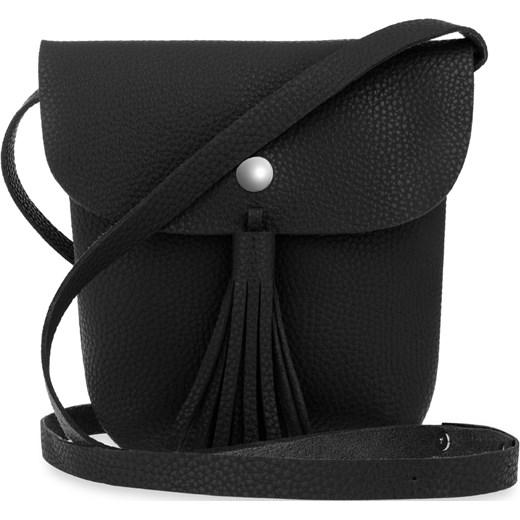 5922ed38aa6ad Listonoszka boho mała torebka damska z frędzlami i klapką – czarny czarny  world-style.