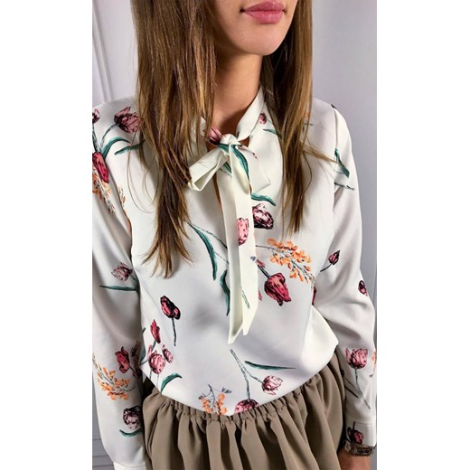 c7856bd04397d Modova Biała Wiązaniem Kwiaty Koszula Domodi Z W nzqFFxTX
