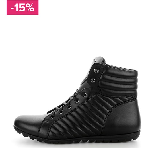 Czarne sportowe buty za kostkę ze skóry licowej VAGLIA czarny Primamoda