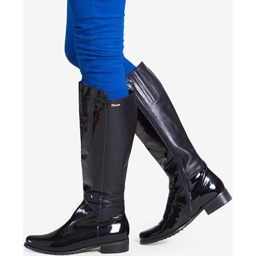 9be8c19cf0a43 Czarne kozaki damskie KARINO szary Wojtowicz Awangarda Shoes w Domodi