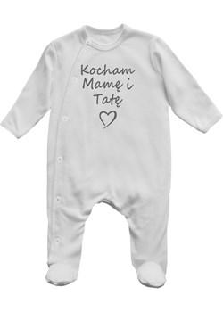 Pajac niemowlęcy  KOCHAM MAMĘ I TATĘ Lene szary lene.pl - kod rabatowy