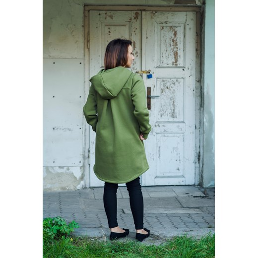 Płaszcz wiosenny damski oliwkowy Bubalove zielony