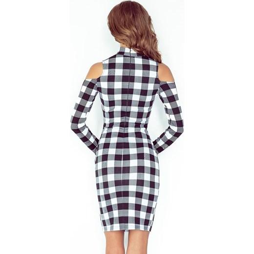 4644a96974 ... Sukienka z golfem i długim rękawem - CZARNO BIAŁA KRATKA Morimia XS  merg.pl ...