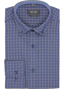 koszula bexley f2646 długi rękaw slim fit granatowy Recman niebieski  - kod rabatowy