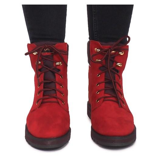 2842edf3 ... Workery damskie czerwone bez wzorów casual na płaskiej podeszwie. Workery  damskie gładkie czerwone płaskie sznurowane