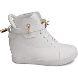 d9263e31944fb Sneakersy damskie gładkie na koturnie białe