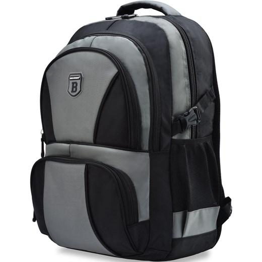 774255c8ee14b ... Praktyczny plecak męski bag street szkolny wycieczkowy – czarno-szary  Bag Street czarny world- ...