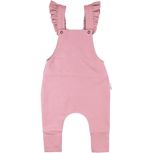 FRILLY SUSPENDER DUNGARESS  rozowy 110/116(4-6Y) i love milk