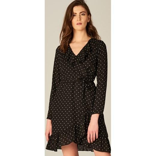 99222e8d Mohito - Sukienka w groszki z falbaną Czarny szary