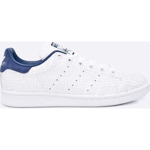 3016d1370f80b Trampki damskie białe Adidas Originals stan smith gładkie ze skóry wiązane  płaskie z niską cholewką ...