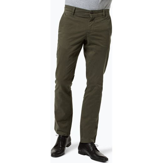 51e4805fe1021 BOSS Casual - Spodnie męskie – Schino-Regular D, zielony szary Boss Casual  36