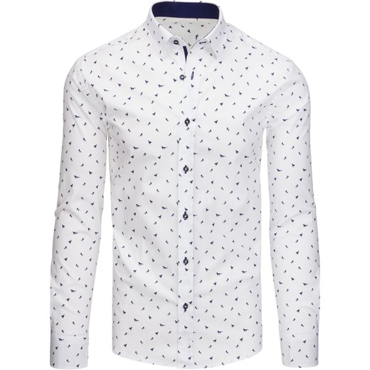 Biała koszula męska we wzory z długim rękawem (dx1436  Cgcu3