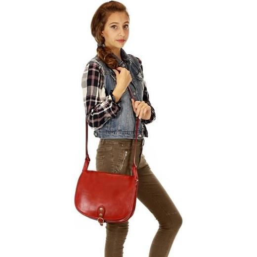 b1566cbf415f5 ... MICHELLE Duża torebka włoska na długim pasku Czerwona czerwony Vera  Pelle One Size promocyjna cena merg ...