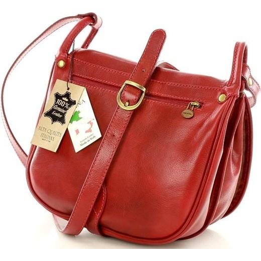 e577344e0b58e MICHELLE Duża torebka włoska na długim pasku Czerwona Vera Pelle czerwony  One Size wyprzedaż merg.