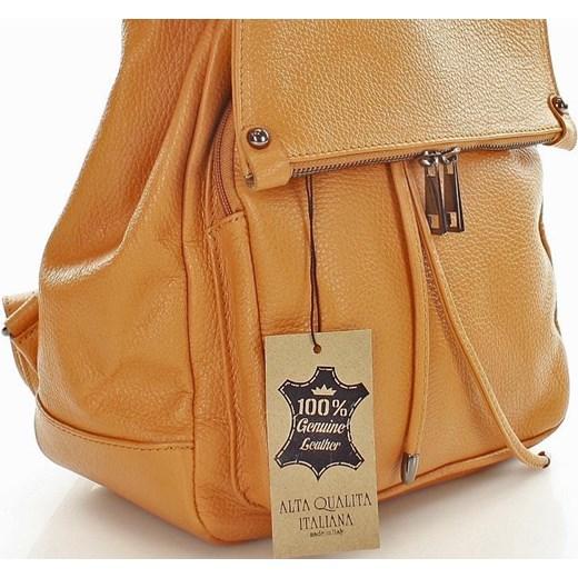 26489a95d2020 ... Skórzany plecak damski AMBER camel Vera Pelle zolty One Size wyprzedaż  merg.pl ...