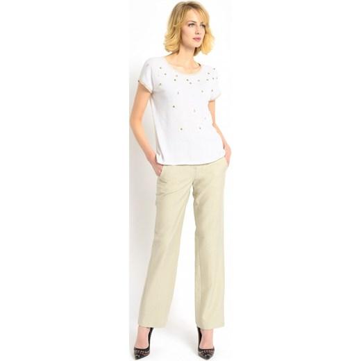 3b6b86324d Dzianinowa bluzka ze złotymi zdobieniami Potis   Verso AGRA bezowy Eye For  Fashion w Domodi