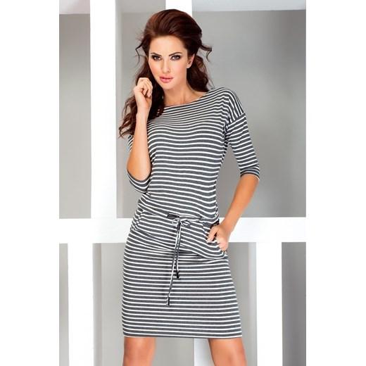 58608cb372 Sukienka sportowa - szare paski 13-11 Numoco Yasmine w Domodi