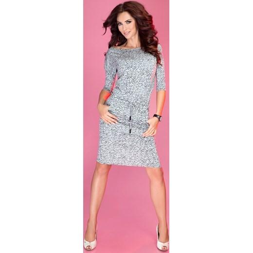 34a433767e Sukienka sportowa - napisy + jasny szary 13-10 Numoco Yasmine w Domodi