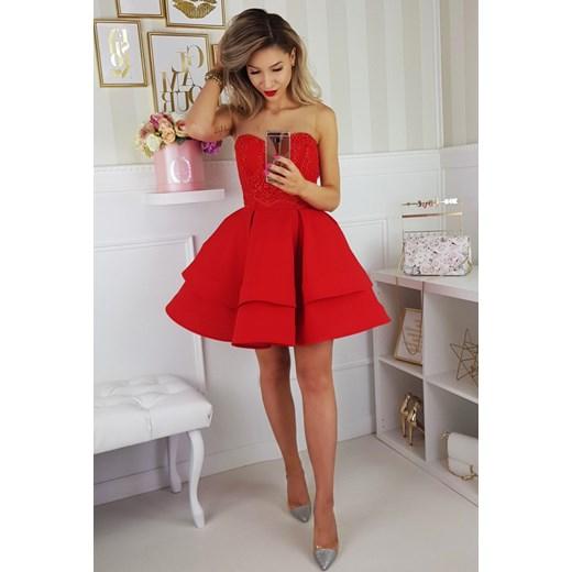 144d2fe62c Sukienka gorsetowa rozkloszowana czerwona 2138 B Yasmine w Domodi