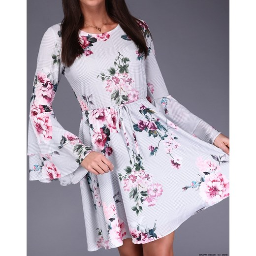 c15621d9a8 sukienka miracle    szyfonowa + delikatne kwiaty + kratka Miracle fioletowy  S LUXURYONLINE ...