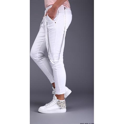 spodnie damskie melly&co ** półsportowe białe jeansy na guziki+ szelki fioletowy Melly&co LUXURYONLINE