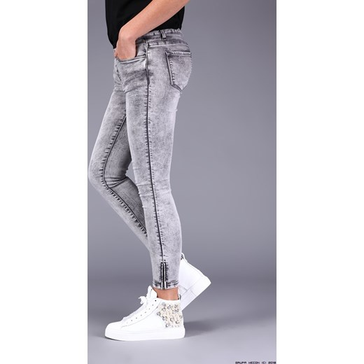 253f2a1f spodnie damskie made in italy ** klasyczne szare rurki + zamki niebieski  LUXURYONLINE