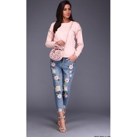 affc43f5de spodnie damskie anna biagiotti    jeansowe spodnie + haftowane kwiaty +  przeszycia szary Anna Biagiotti ...