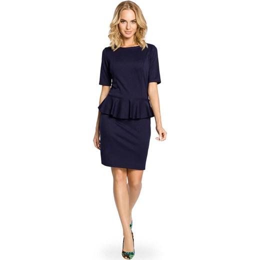 0116ad8289 Granatowa Elegancka Dzianinowa Sukienka z Baskinką molly-pl czarny baskinki  w Domodi