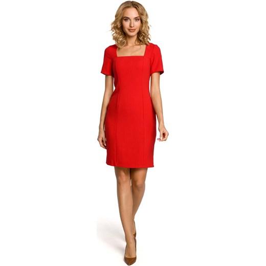 b0a6b3b525 Czerwona Elegancka Ołówkowa Sukienka z Dekoltem Karo Krótkim Rękawem  molly-pl pomaranczowy w Domodi