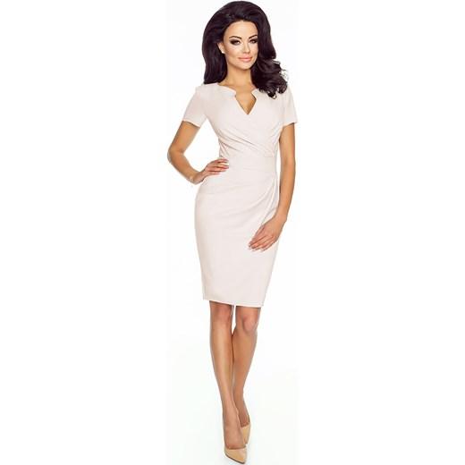 4d22e75a73 Kremowa Elegancka Sukienka z Założeniem Kopertowym molly-pl bezowy elegancki  w Domodi