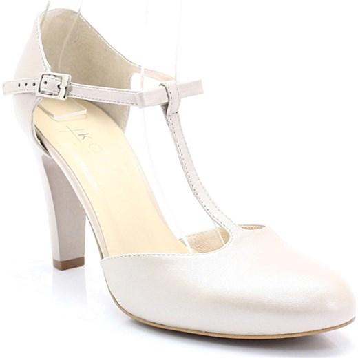 cec9f937 KOTYL 5871 PERŁA LICO - Skórzane buty ślubne doskonałe do tańca bezowy Kotyl  40 okazja Tymoteo