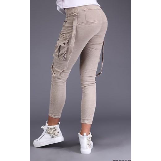 spodnie damskie melly&co ** półsportowe piaskowe jeansy+ szelki bezowy Melly&co LUXURYONLINE