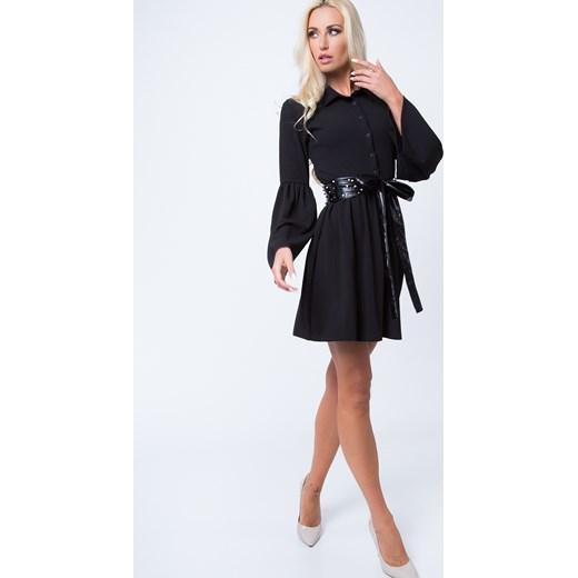 85b0e3e689 Sukienka rozkloszowana z guzikami czarna 1586 fasardi XL fasardi.com ...