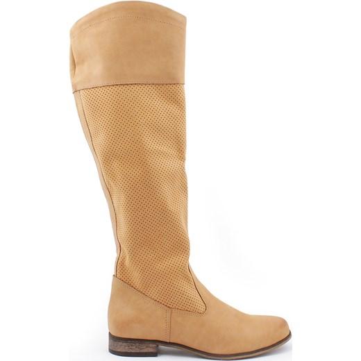0b0cb6b7d8fe5 kozaki dziurkowane - skóra naturalna model 124, kolor piaskowy  zapato-com-pl brazowy