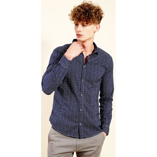 c05f8d76b52d88 Granatowa koszula męska we wzór Armani Jeans Velpa.pl w Domodi