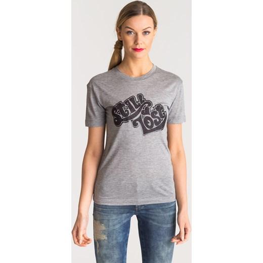 aac780a477fdc7 Szary t-shirt damski z czarnym nadrukiem Emporio Armani 46 (roz. polski 42