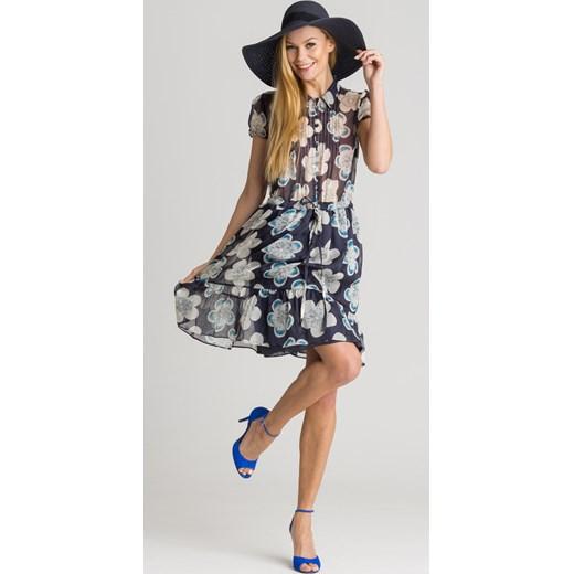 814a9fa9 Granatowa sukienka w kwiaty Emporio Armani Velpa.pl