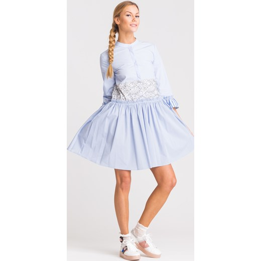 2bd25c73cf Niebieska sukienka My Twin z biało-czarną koronką Twinset Velpa.pl w ...