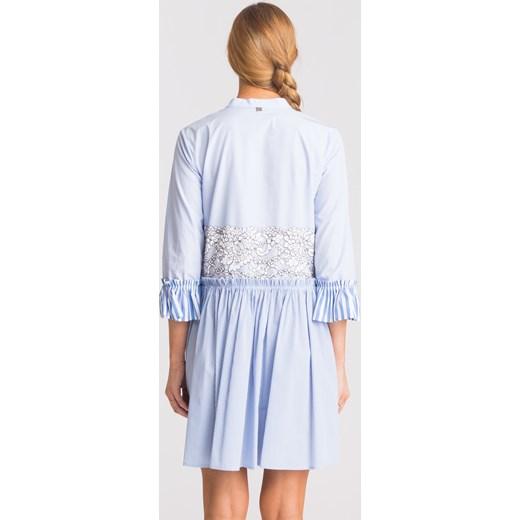 2a5d11e17e ... Niebieska sukienka My Twin z biało-czarną koronką Twinset S Velpa.pl ...