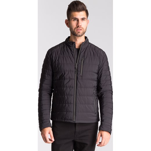trwałe modelowanie Czarna pikowana kurtka męska ze stójką