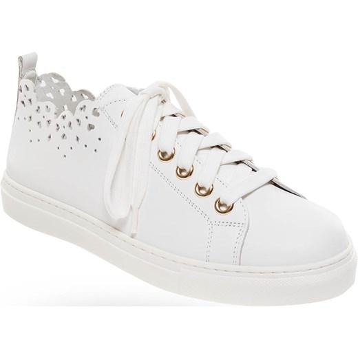 64484ea34681d Białe skórzane sneakersy z motywem serc Twinset Velpa.pl w Domodi
