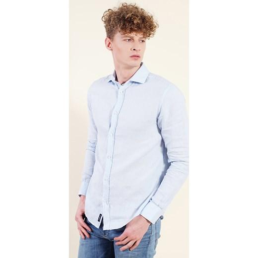 0479a8534c13a4 Niebieska koszula męska fioletowy Armani Jeans XXL Velpa.pl ...
